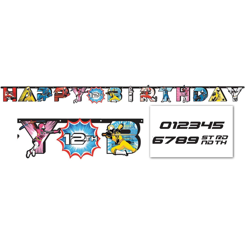 amscan Power Rangers Ninja Steel Jumbo Add-an-Age Happy Birthday Letter Banner, Multicolor, 10.5 Foot Banner