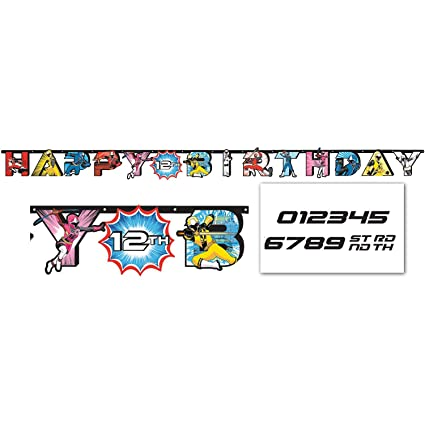 amscan Power Rangers Ninja Steel Jumbo Add-an-Age Happy Birthday Letter Banner, Multicolor, 10.5 Foot Banner