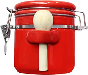 Blue Donuts 25 Oz Ceramic Airtight Jar, Ceramic Airtight Food Storage Containers, Ceramic Kitchen Canisters, 739 ML Airtight Jar, Flour Jar with Lid, Airtight Food Storage Containers for Pantry, Red