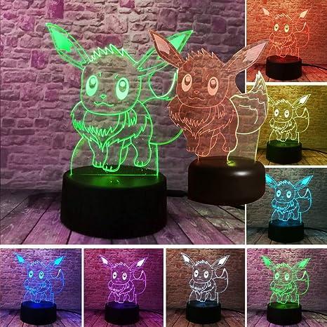 Nueva moda pokemon para Eevee 3D luz de noche acción Fige ...