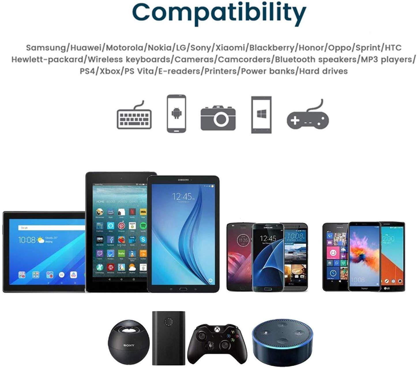 Nylon Cavo USB Micro USB Android Trasferimento Dati e Ricarica Rapida Compatibile con Samsung S5//S6//S7 QGhappy Cavo Micro USB, 4 Pezzi:1m,1m,2m,3m PS4 HTC,LG,HTC,Kindle Huawei