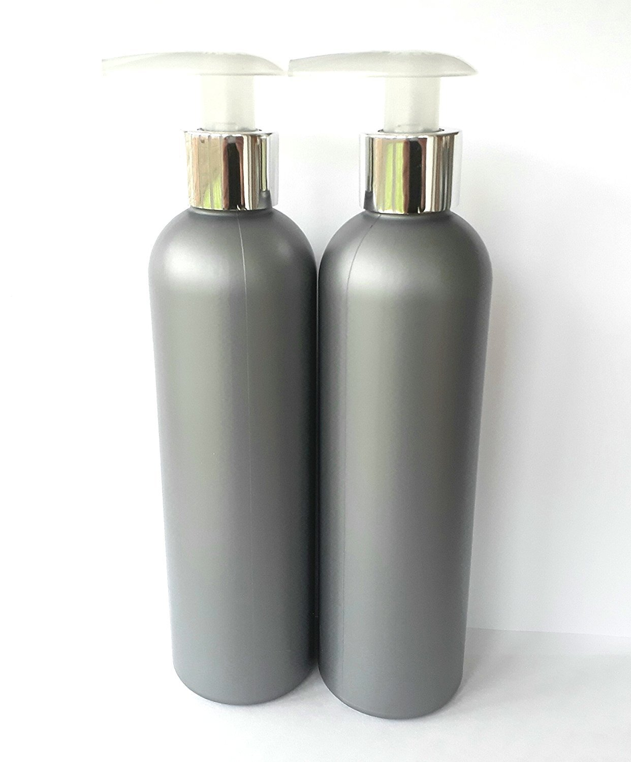2 x 250ml Silver Grey Empty Plastic Bottles with chrome silver Lotion Pump Dispenser … none Others