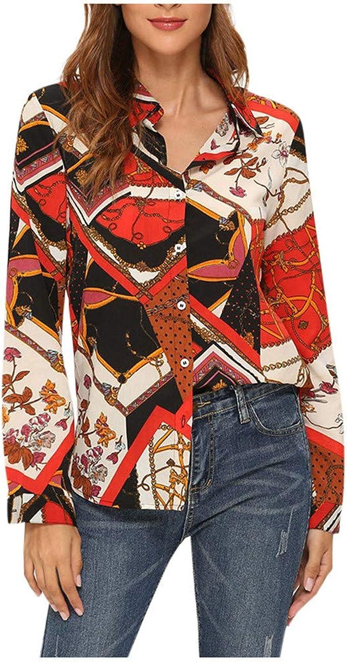 FORH - Camiseta de manga larga para mujer, sudadera, camisa de moda, con patrón de cadenas, para mujer, blusa de té, con botón rojo S: Amazon.es: Ropa y accesorios