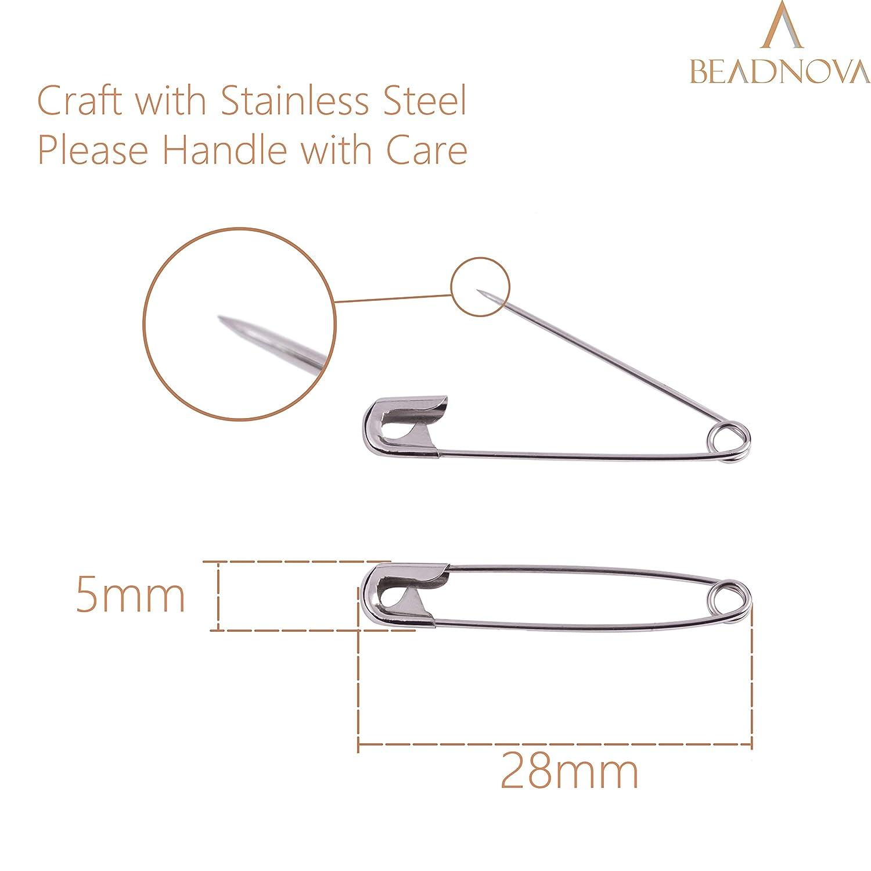 120pcs, 1.8 Inch, 45mm BEADNOVA Safety Pins Nickel Finish Clothing Pins for Garment Art Craft