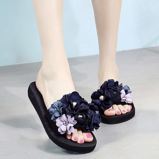 Damen Hausschuhe Sommer Mode Hausschuhe Outdoor Strand Schuhe Blumen Sandalen - hoch 3cm ( Farbe : A , größe : US:7 UK:6 EUR:39 )