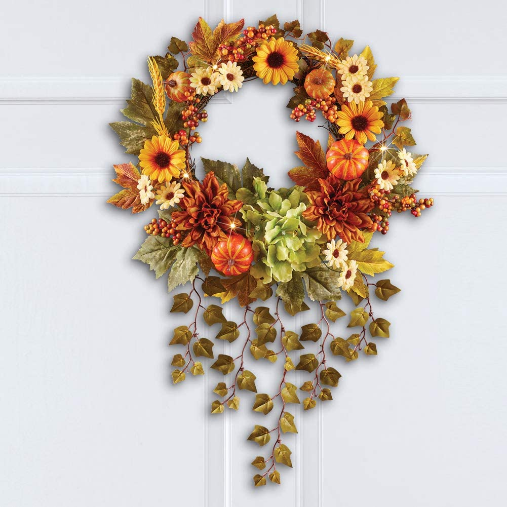 Led Lighted Autumn Sunflower Wreath with Hanging Ivy has a Colorful Assortment of Fall Flowers and Hook on Back for Easy Hanging