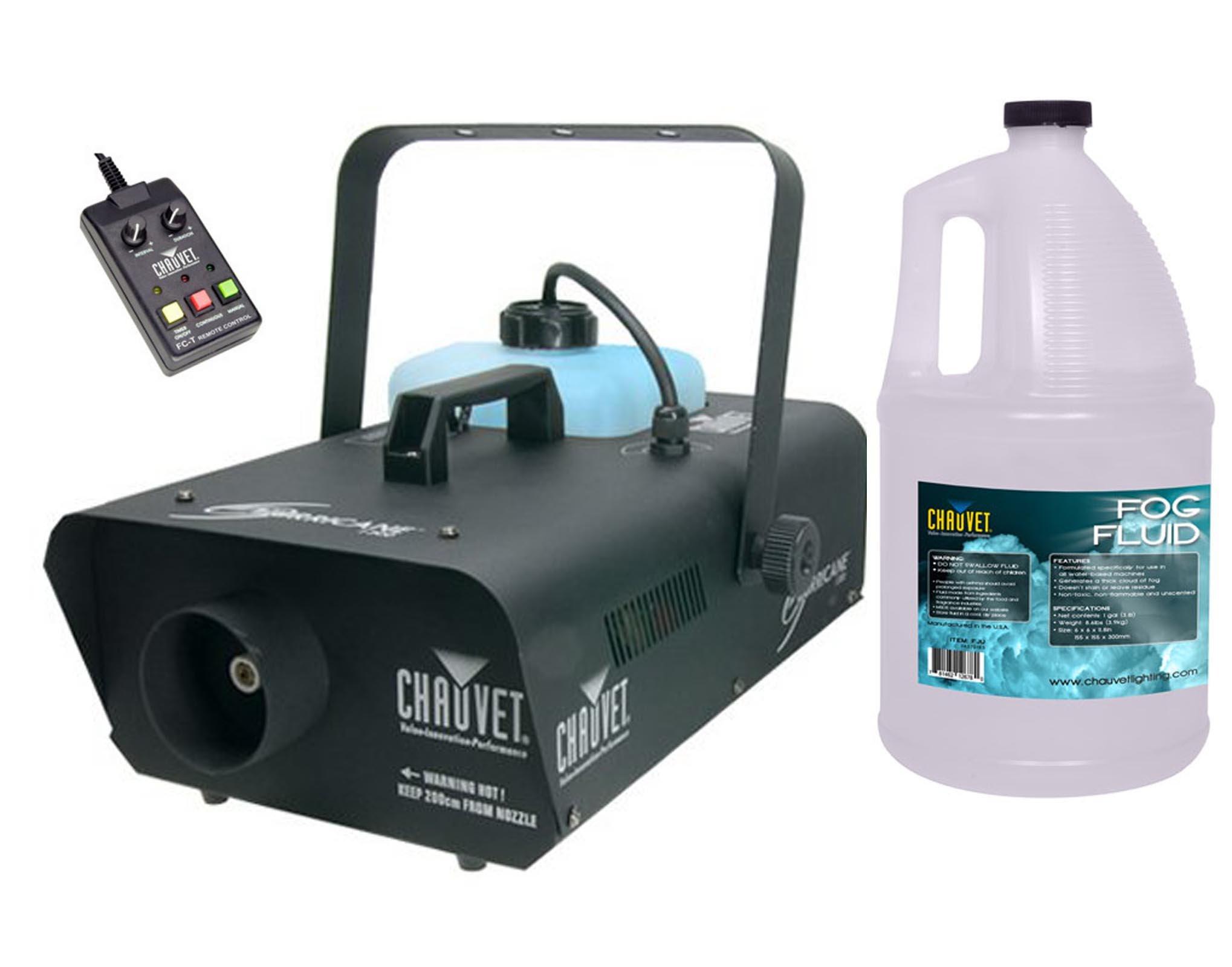 NEW! CHAUVET HURRICANE H1300 Pro DJ Smoke Fog Machine w/ FC-T Remote + FJU Fluid