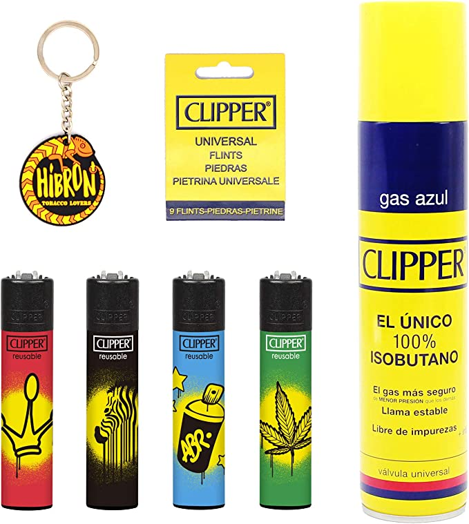 Image of Clipper 4 Mecheros Encendedores Diversos Surtidos Bonitos Baratos,1 Carga Gas Encendedor Clipper 300 Ml,9uds De Piedra Clipper Y 1 Llavero Hibron Gratis 1-10003-8