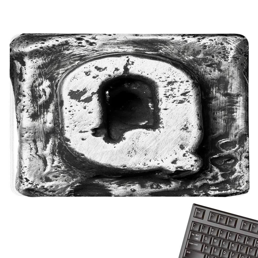 Qlarge 文字マウスパッド バロック Q ルネッサンススタイル ロコ グラマー 教育 アンティーク アルファベットデザイン 快適なマウスパッド 9.8インチx11.8インチ シルバーブラック 15.7
