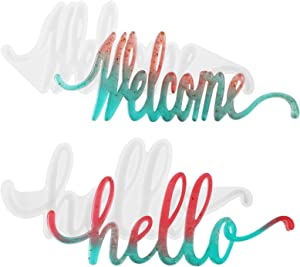 Word Sign Molds - Hello & Welcome Molds, Gartful Silicone Epoxy Resin Word Molds, Letters Crystal Resin Molds, Resin Casting Molds for Home Desk/Table/Room Decor/Wall Art/Wall Hanging/Weddings