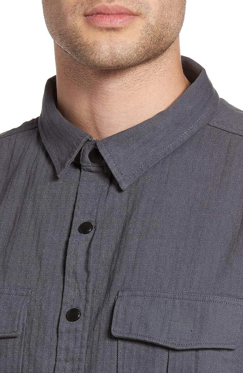 Zak Brand Mens Long Sleeve Button Down Herringbone Shirt Jacket Curved Hem