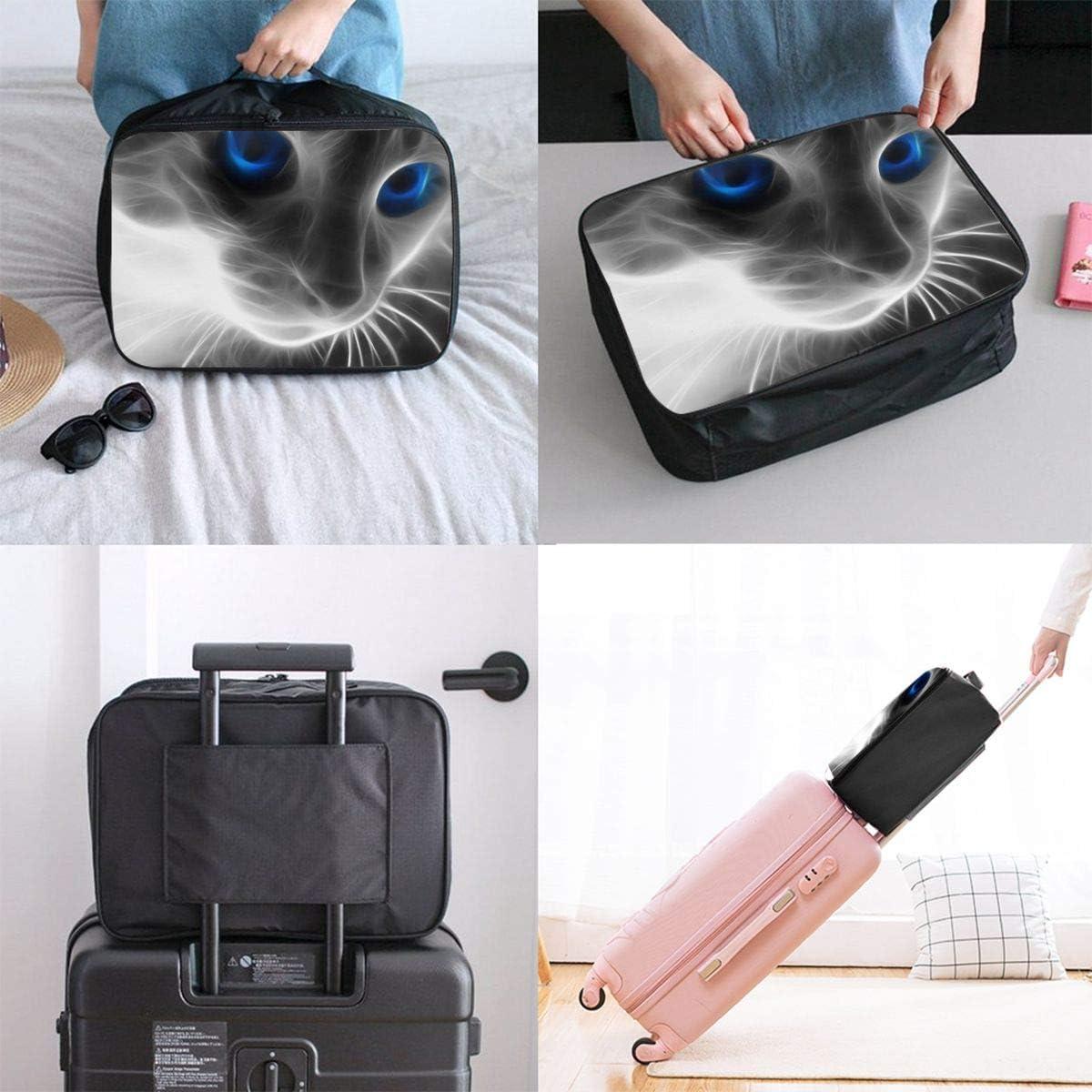 Yunshm Animal Cat Blue Eyes Customized Trolley Handbag Waterproof Unisex Large Capacity For Business Travel Storage