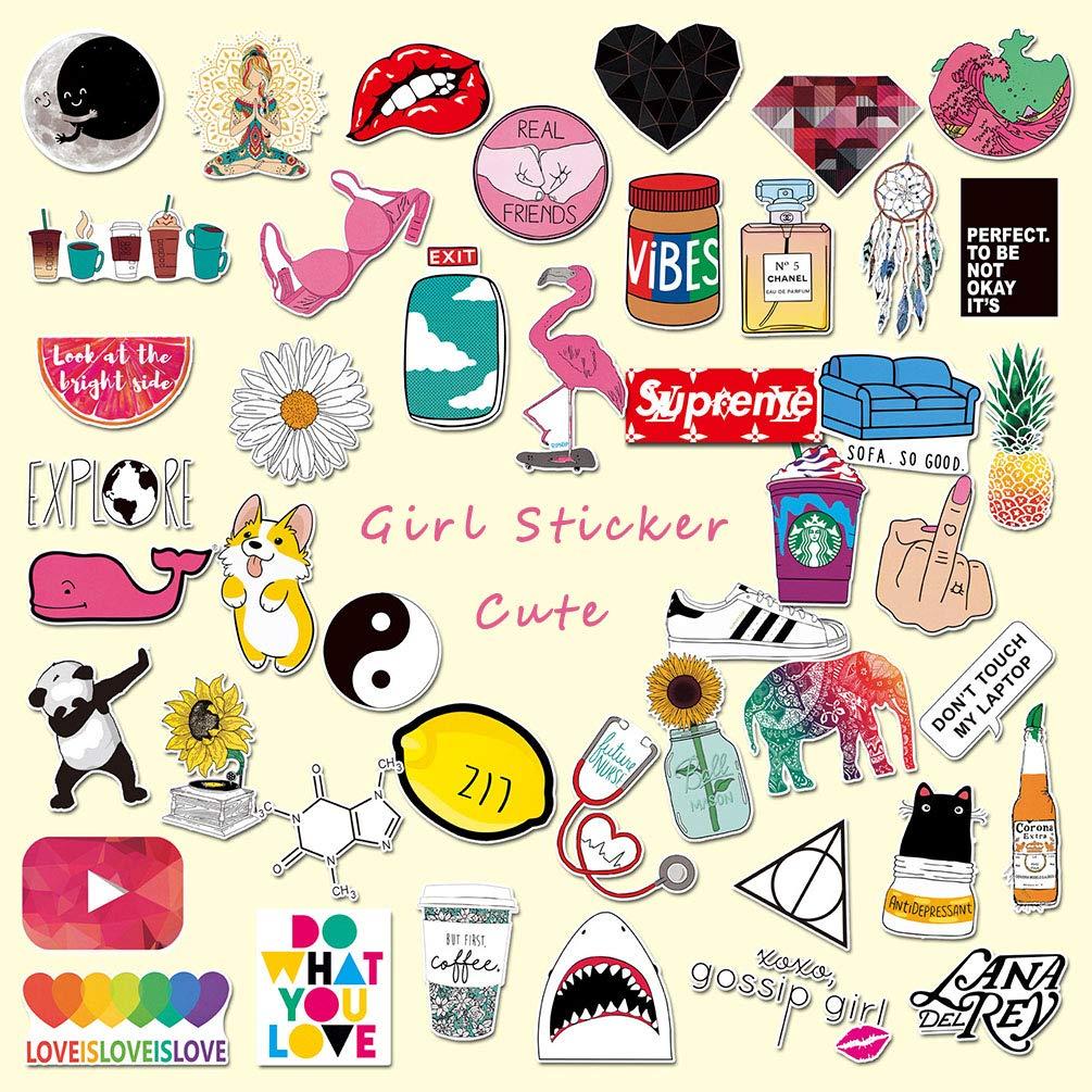 Cute Laptop Stickers for Girl, Cartoon Waterproof Vinyl Water Bottle Computer Notebook Car Skateboard Motorcycle Bicycle Luggage Guitar Bike Decal 45pcs Pack