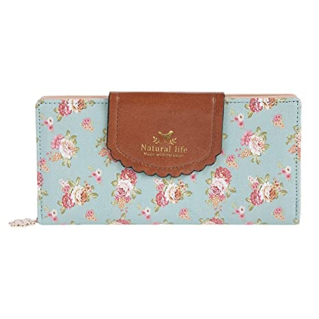 Estampado de Flores Monedero Mujer IHRKleid® Dulce Carteras de las Señoras Billetera Tarjetas (Azul claro)