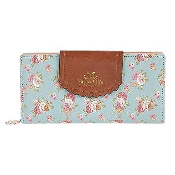 Estampado de Flores Monedero Mujer IHRKleid® Dulce Carteras de las Señoras Billetera Tarjetas (Azul claro): Amazon.es: Equipaje