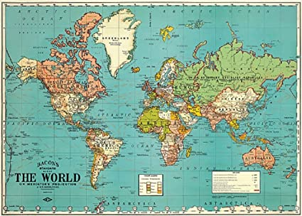Vintage Map Of World.Amazon Com Bacon S Standard Map Of The World Vintage 18x27 5