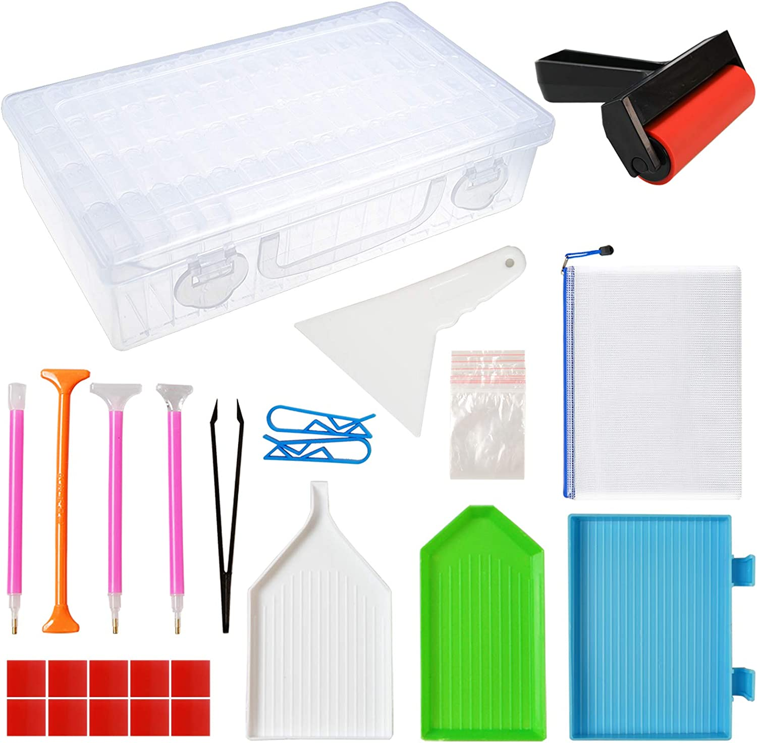 Outuxed 56Pcs 5D Diamond Painting Kit Accessories Tools for Adults with Diamond Painting Roller and 64 Grids Diamond Storage Box
