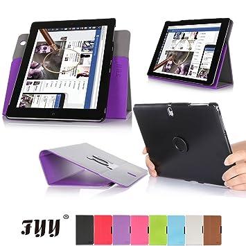 Fyy Funda de Piel para Lenovo Yoga Tablet 2 (10 Pulgadas), función Atril, Tarjetero, Correa de Mano, función de Apagado y Encendido automático Frutas ...