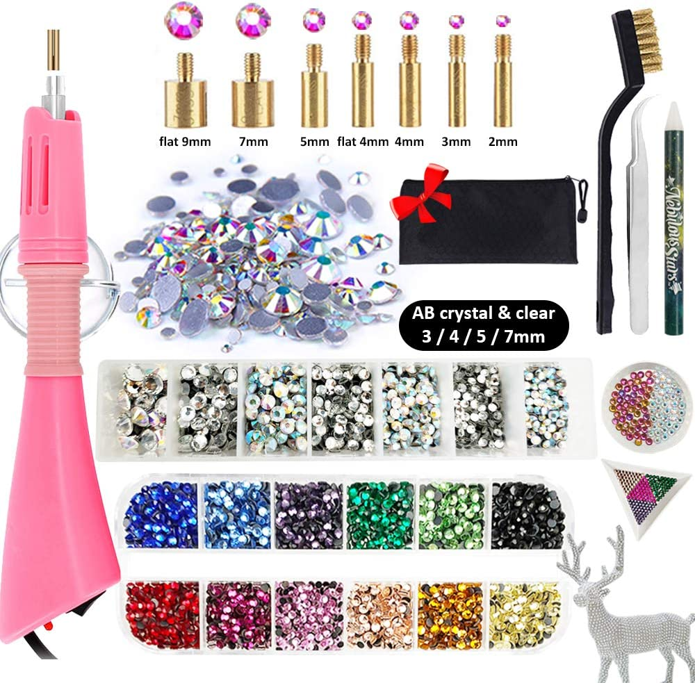 Hotfix Rhinestone Setter, Hot-fix Applicator Tool Kit, Hot Fix Wand, 3880 Pcs, AB Crystal, Clear, 12 Colors, 7 Tips, Manual, Tweezers, Jewel Picker, Stand, Brush, Trays, Zip Bag, 4 Gem Sizes