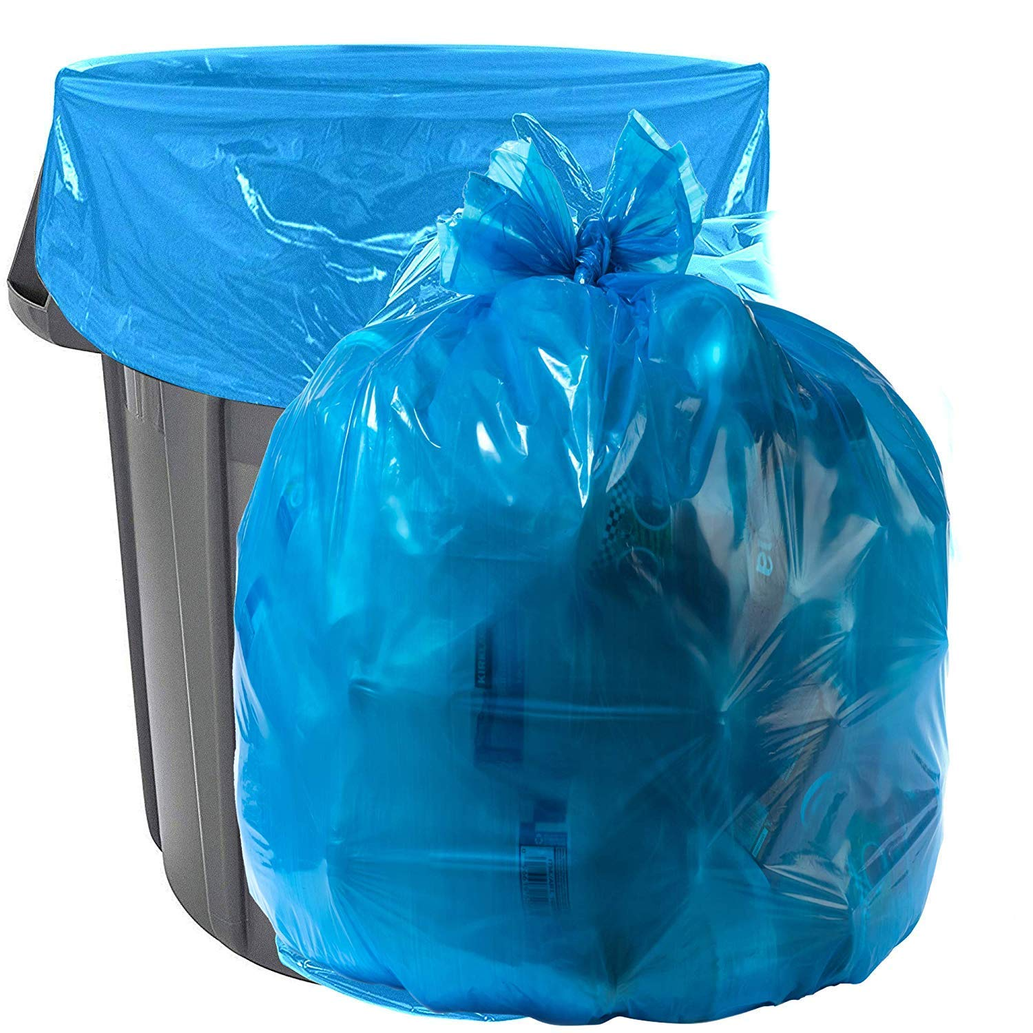 Aluf Plastics 33 Gallon Blue Trash Bags - (Pack of 100) - 1.5 MIL (Equivalent) - Garbage or Recycling Bags 33