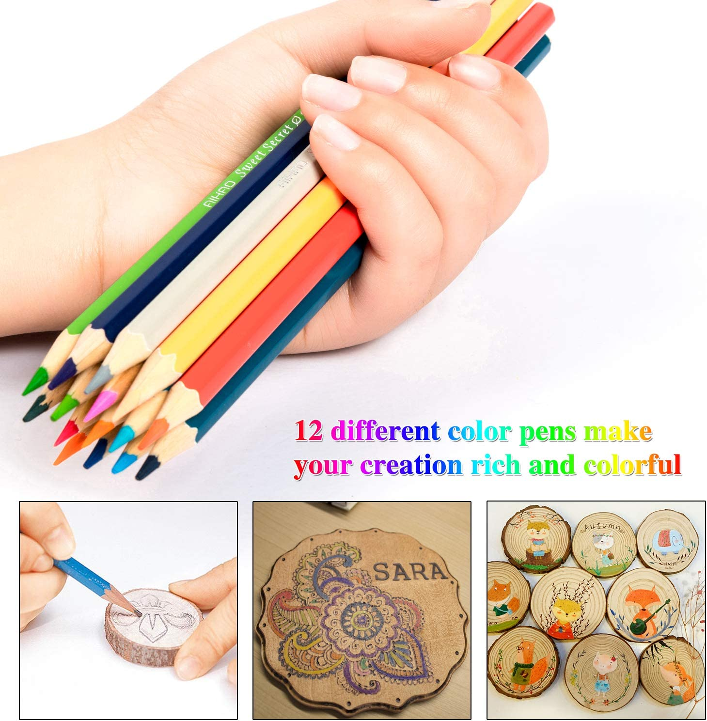 Carrying Case 2020 Upgraded Wood Burning Kit 46PCS Pyrography Pen with Adjustable On-Off Switch Temperature Control Include Various Wooden Kits Carving//Embossing//Soldering Tips UL Listed