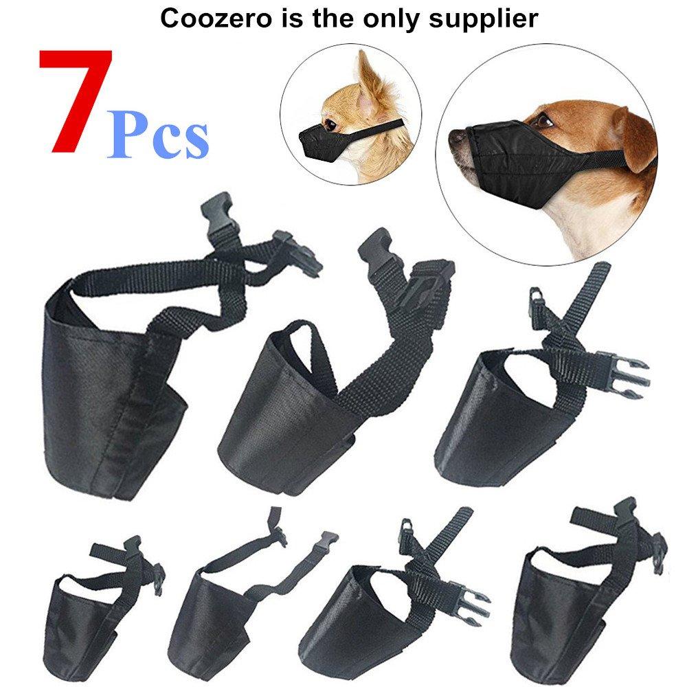 Black Dog Muzzles Suit, 7 PCS Anti-Biting Barking Muzzles Adjustable Dog Mouth Cover for Small Medium Large Extra Dog
