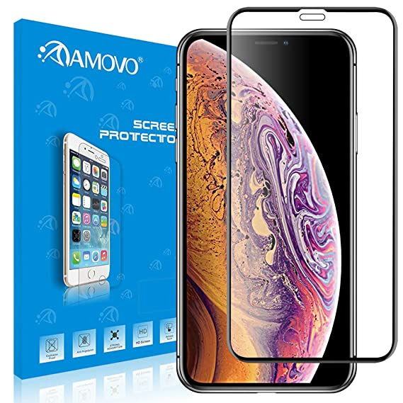 low priced 84ccc 294f2 iPhone Xs Max for Screen Protector [Full Coverage] AMOVO 3D Tempered Glass  Screen Protector for iPhone Xs Max,Premium HD Anti-Edge Chipping Glass ...