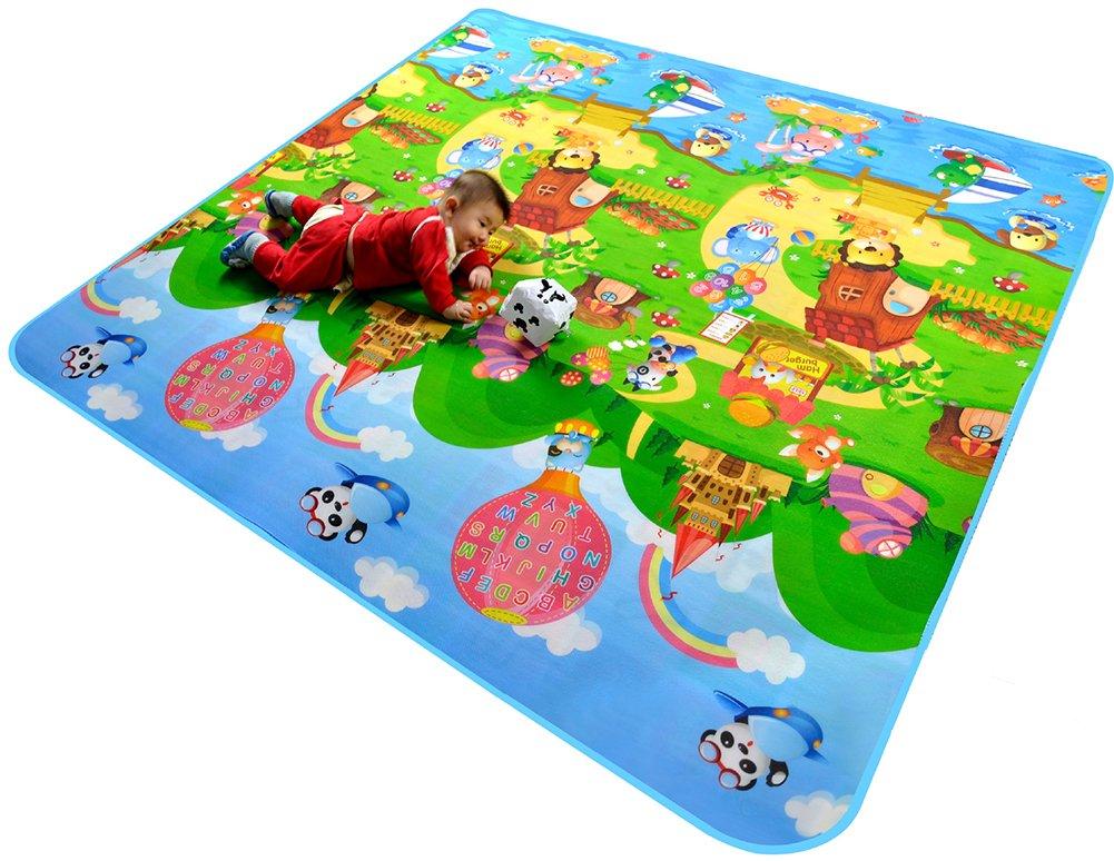 Tappeto per Bambini Gioco Doppia Faccia Impermeabile Grande per Casa e All'aperto 120cmX180cmX0.5cm AYUN