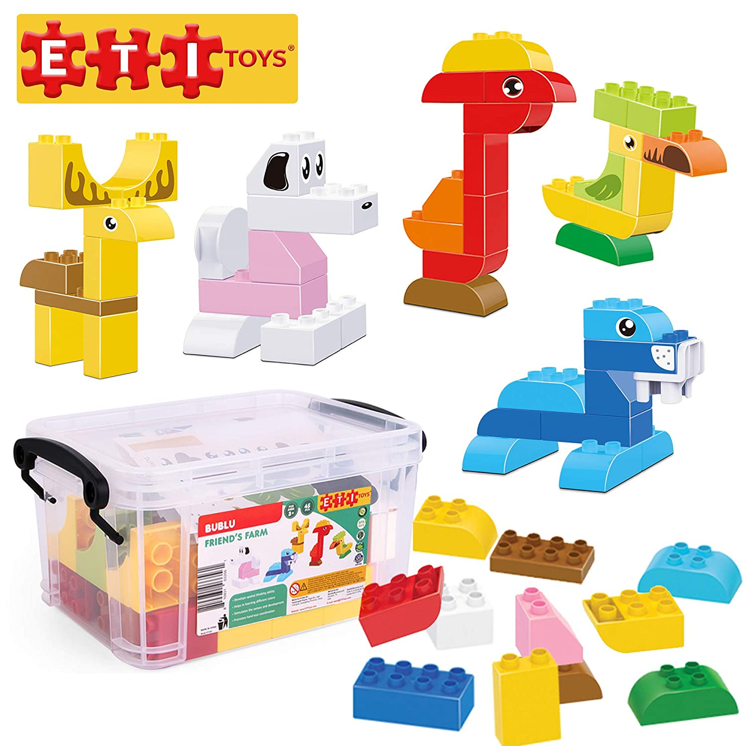 Creative Skills Development Fortress with Farm Animals ETI Toys 5 Year Old Boys and Girls 4 Non-Toxic Toy for 3 Best Gift 60 Piece Bublu Animal Story Building Blocks; Build Talking Sage Tree