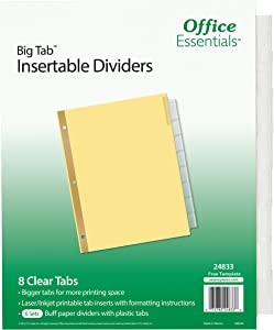 Office Essentials Big Tab Insertable Dividers, Buff, 8-1/2 x 11, 8 Clear Tab, Laser/Inkjet, Pack of 6 (24833)