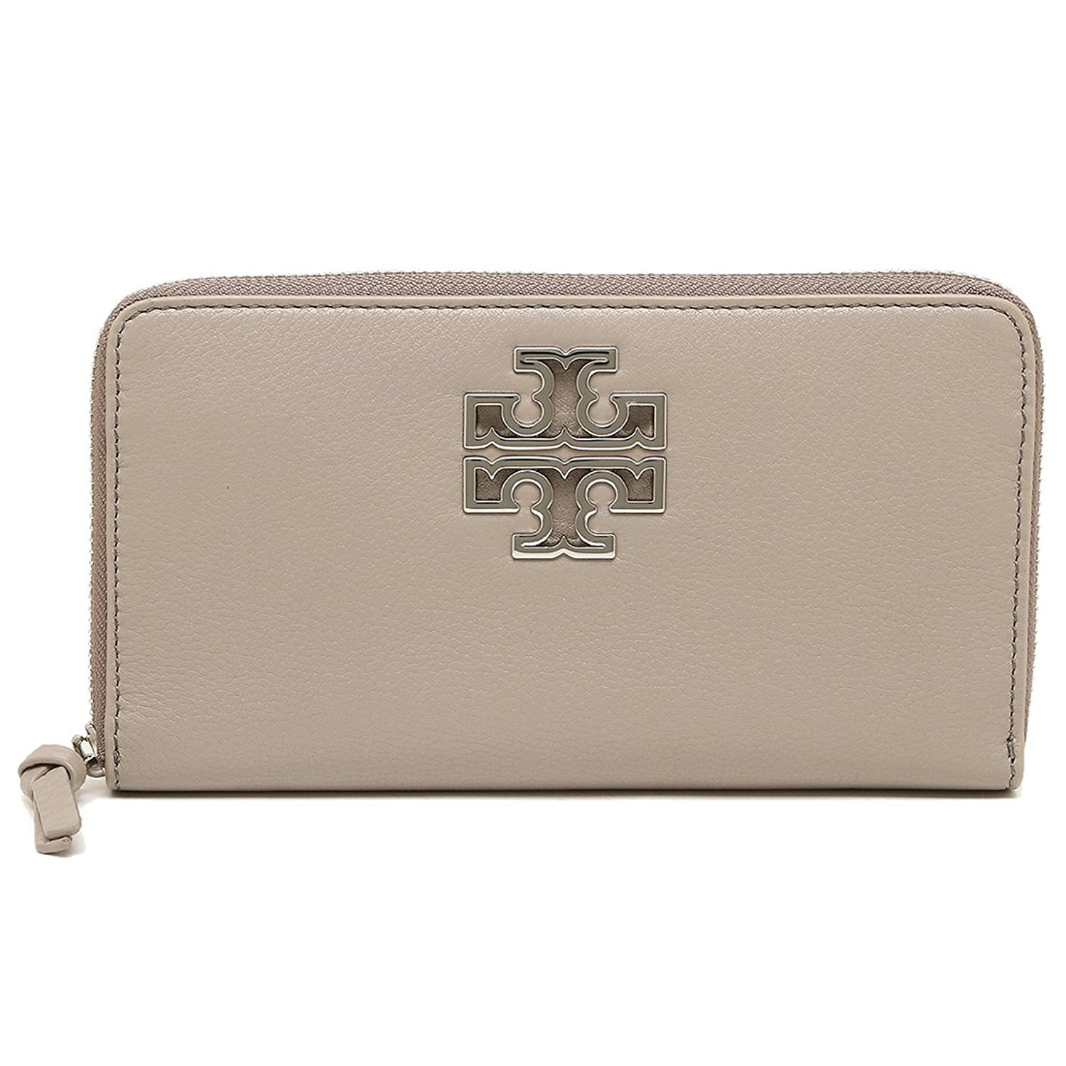 Tory Burch Wallet Zip Around Britten Silver TB Logo Leather (French Gray) by Tory Burch