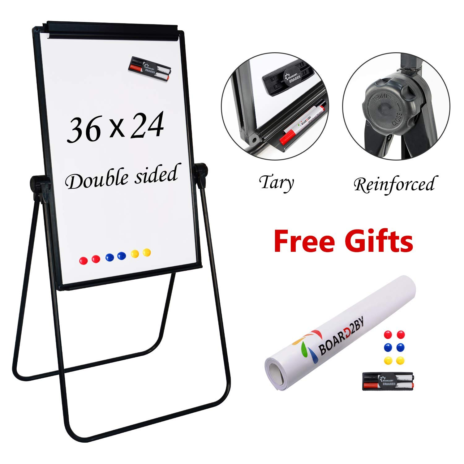 Board2by U Stand Whiteboard Easel - 24'' x 36'' Double Sided Magnetic Dry Erase Flipchart Black Stand, 360 Degree Rotating, Exclusive Design Magnetic Eraser&Pens, 25-Sheet Papers, 6 Magnets for Free