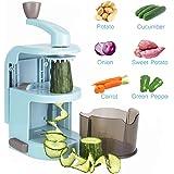 Spiralizers for Vegetables, Alegender 4-Blade Vertical Vegetable Slicer Fresh Veggie Spaghetti & Pasta Maker for Low Carb/Paleo/Gluten-Free Meals-White (Blue)