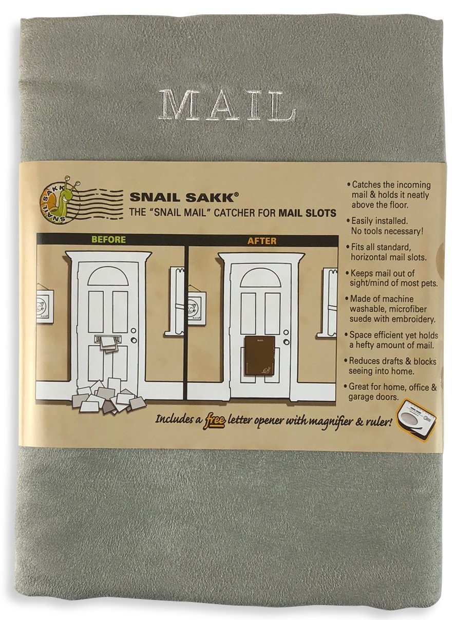SNAIL SAKK: Mail Catcher For Mail Slots - GRAY. No tools/screws necessary! Space efficient, reduces drafts, and more! For home, office, and garage doors. | Basket, Letter Cage, Door, Bag |
