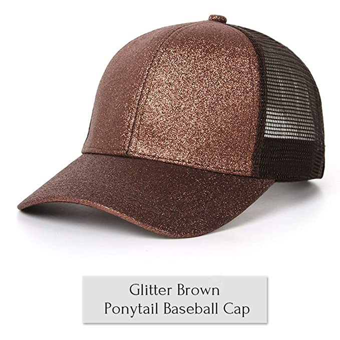 8580c7ad83d0c Image Unavailable. Image not available for. Color: 2019 Glitter Ponytail  Baseball Cap Women Snapback Hat Summer Messy Bun Mesh Hats Casual Adjustable  Sport