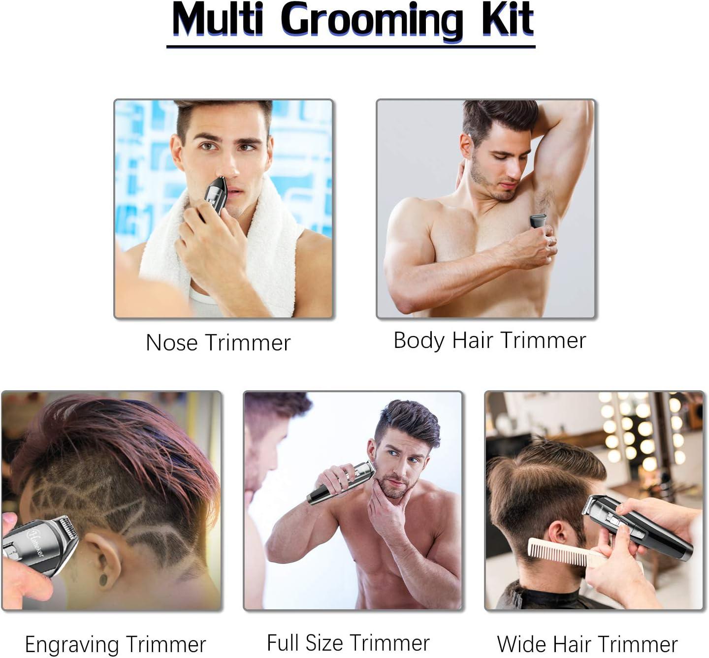 HATTEKER Kit de recortadora de barba para hombre, cortador de ...