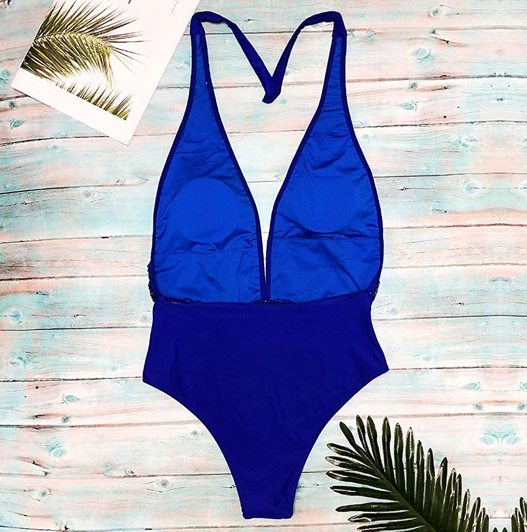 Womens One Piece Low V Swimsuit Monokinis Cutout Halter Squein Backless Monokini Swimwear Bathing Suits by Nevera