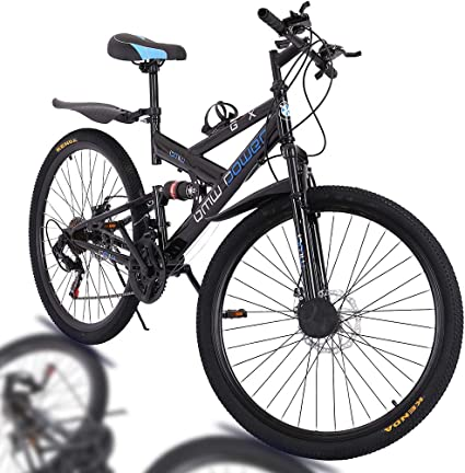 26in Carbon Steel Mountain Bike Shimanos Full Suspension MTB Bicycle,Double Disc Brake Outroad Mountain Bicycles for Men Women【Shipping from US】 21 Speed Bicycle