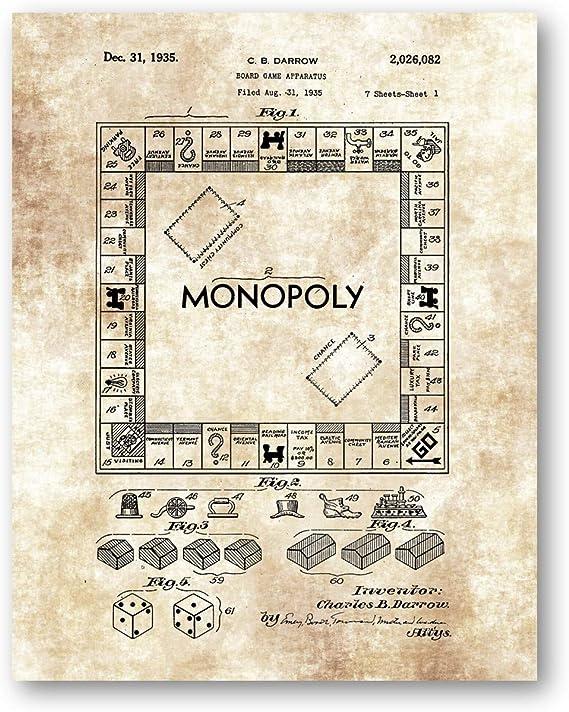 Ramini Brands Monopoly - Juego de Dibujo (27,9 x 35,6 cm, sin Marco, diseño de Patente, Gran Regalo para Decorar la Sala de Juegos): Amazon.es: Hogar