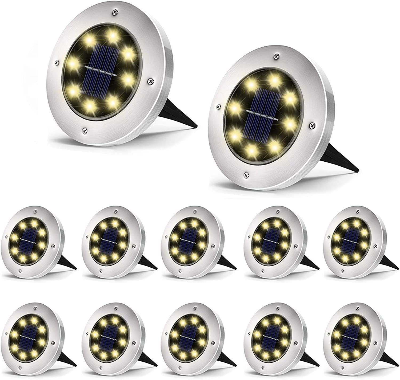 SEFON Solar Ground Lights, 8 LED Solar Garden Lights, Outdoor Solar Disk Lights, Waterproof In-Ground Lights, Landscape Lights for Pathway, Yard, Deck, Patio, Walkway, 12 Packs, Warm White