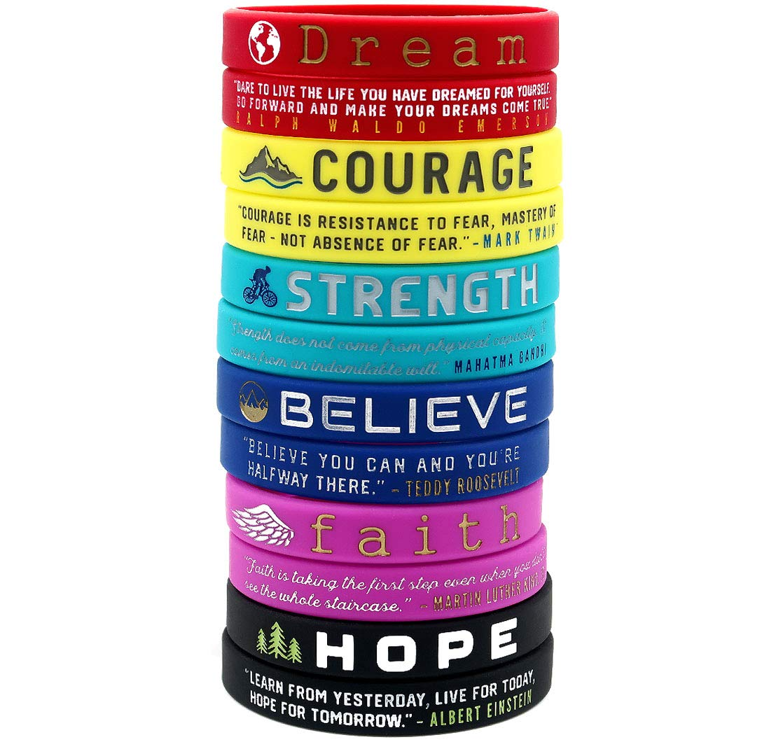 (12-Pack) Inspirational Quote Bracelets, Variety Pack - Dream Courage Strength Believe Faith Hope - Wholesale Pack of 1 Dozen Silicone Rubber Wristbands in Bulk - Party Favors Gifts for Teens Adults by Inkstone