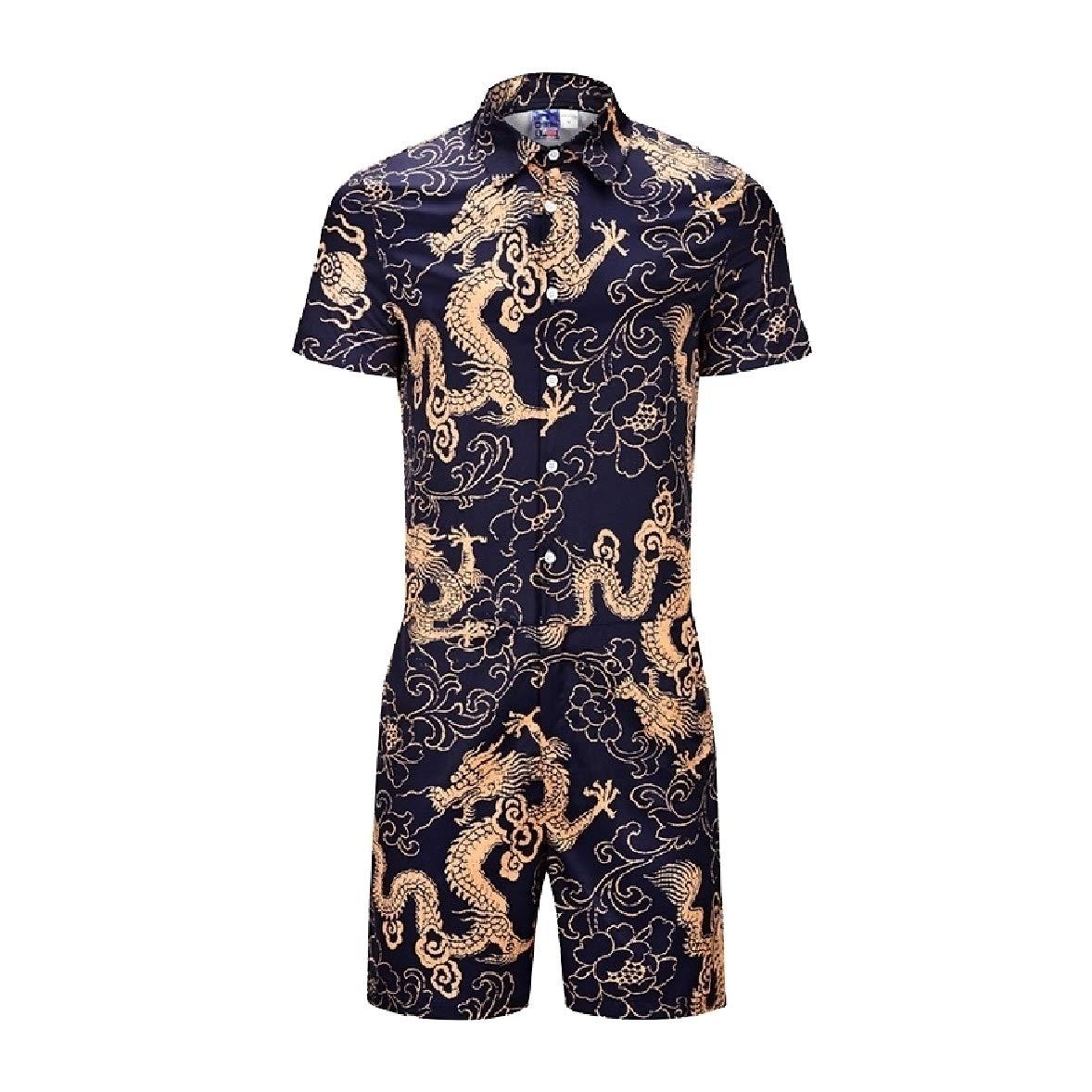 Zimaes-Men Summer Plus Size Short Sleeve Breathable Jumpsuits Romper