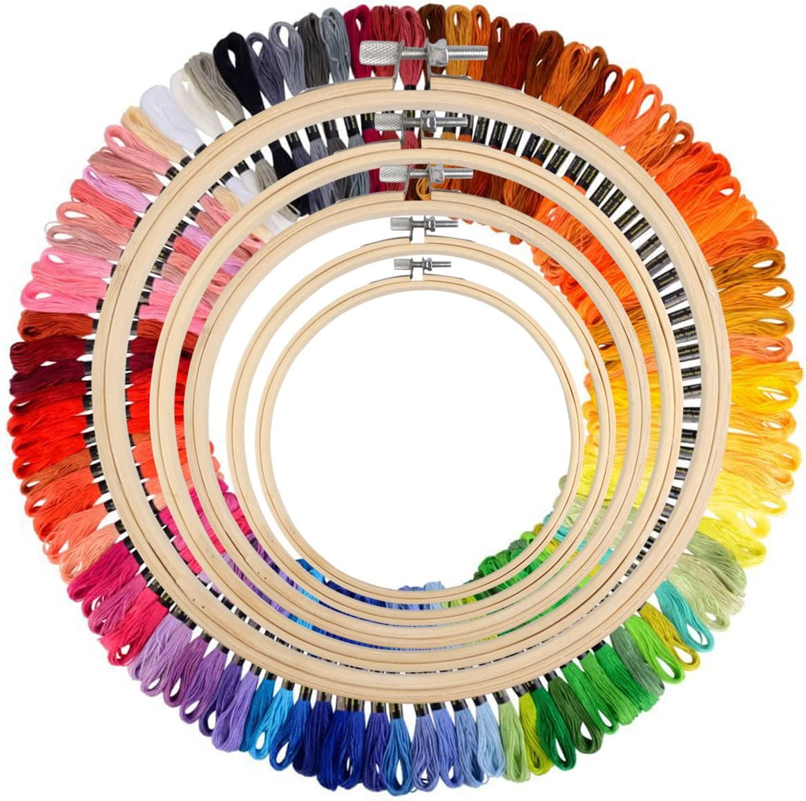 Full Range of Embroidery Starter Kit Cross Stitch Tool Kit Including 5 PCS Bamboo Embroidery Hoop 100 Color Threads 2 PCS Classic Reserve Aida and Tool Kit