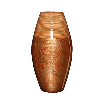 Amazon De Erganzt Vase Bambus Rot Und Natur Fur Home Buro Tisch Living