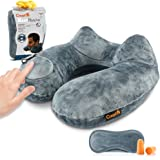 CrazyFire Inflatable Travel Pillow, U Shaped Inflatable Neck Cervical Head Pillow,Soft Compact Lightweight Travel Air Pillows+Soft Carrying Bag+Eye Mask+Ear Plug for Sleeping on Airplane,Car,Train