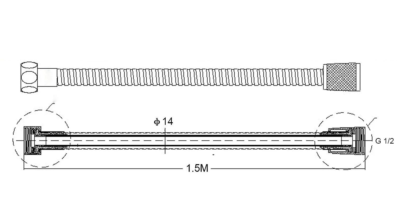 Flessibile con connettore in Ottone Massiccio Cromato Bagno Sostituzione KA 1.5/m Esplosione a Tenuta 1.5 Tubo per Doccia in Acciaio Inox a Doppia aggraffatura 149,9/cm