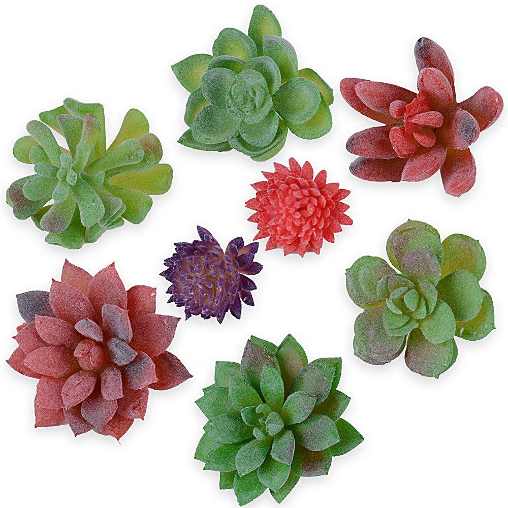 8pcs Plantas Suculentas Artificiales Mini Follaje Plástico Decoración de Hogar Maceta Oficina Jardín Cafetería Boda Fiesta