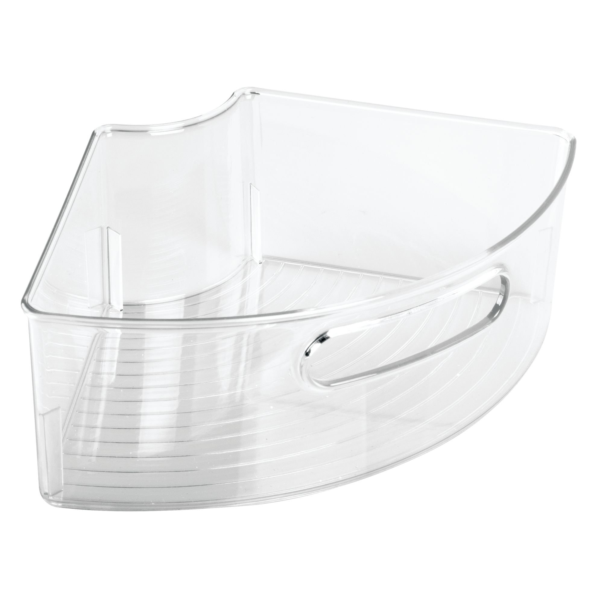InterDesign Kitchen Binz Lazy Susan Plastic Storage Container with Handle for Organizing Pantry Cabinets – ¼ Small Wedge, Pack of 2, Clear by InterDesign