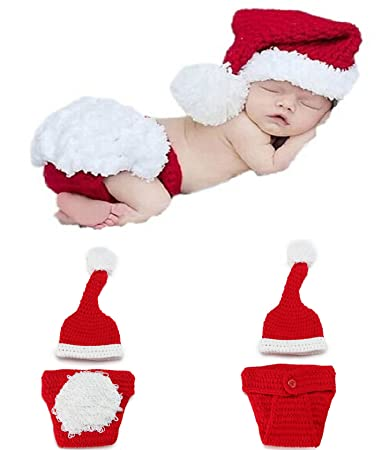 Yonger Newborn Baby Infant Christmas Photography Props Clothes Christmas Hat  + Underwear 16208bc5350