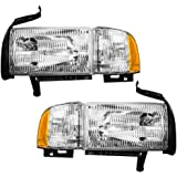 Driver and Passenger Headlights Headlamps with Corner Lamp Replacement for Dodge Pickup Truck 55076749AD 55076748AD